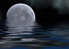 Sea and moon gray. Reflection of detailed moon on the sea, stars and clouds Royalty Free Stock Image
