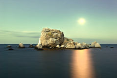 Sea moonlight on the island. Beautiful monnlight and the rock Royalty Free Stock Photo