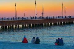 Sea mooring at sunset, approach of twilight Stock Photo