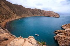 Sea in morocco. Rocks, sea and blue sky - El Jebha Morocco royalty free stock photography
