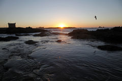The sea in morocco. Sunset in the shore of morocco Stock Photo