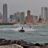 Sea motor boats sport activities. Sea motor in front of Sharjah at Mamzar Beach Royalty Free Stock Photography