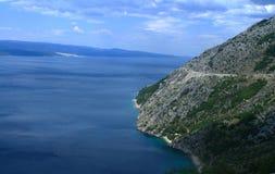 Sea, mountain and island. Blue sea, mountain and road in Croatia Stock Photo