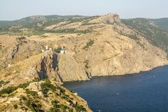 Sea and mountain landscape in Crimea. Royalty Free Stock Image