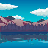 Sea and mountain landscape, neverending  illustration, cartoon background for game design. Game location. Royalty Free Stock Photo