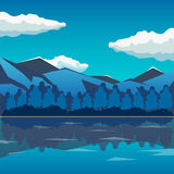 Sea and mountain landscape, neverending  illustration, cartoon background for game design. Game location. Royalty Free Stock Image