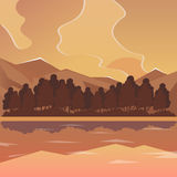Sea and mountain landscape, neverending  illustration, cartoon background for game design. Game location. Royalty Free Stock Images