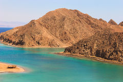 Sea & mountain View of the Fjord Bay in Taba, Egypt royalty free stock photography