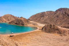 Sea & mountain View of the Fjord Bay in Taba, Egypt stock photography