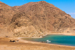 Sea & mountain View of the Fjord Bay in Taba, Egypt Stock Image