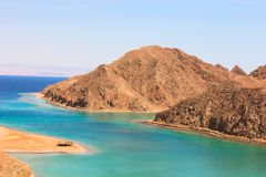 Sea & mountain View of the Fjord Bay in Taba, Egypt Stock Photo