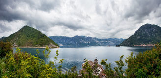Sea and mountains in bad rainy weather Stock Photography