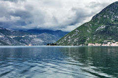 Sea and mountains in bad rainy weather Royalty Free Stock Photography
