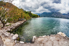 Sea and mountains in bad rainy weather Royalty Free Stock Image