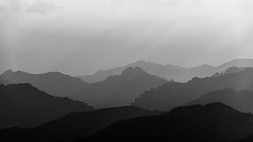 A sea of mountains in black and white Stock Photos