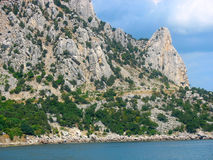 The sea and mountains on the Crimean peninsula. The black sea and mountains on the Crimean peninsula Stock Images