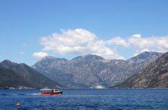 Sea and mountains landscape Bay of Kotor Montenegro Royalty Free Stock Image