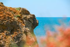 Sea and Mountains landscape at Cape Meganom, the east coast of the peninsula of Crimea. Beautiful nature, Colorful background. stock image