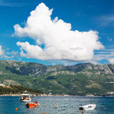 Sea and mountains landscape. Landscape with sea and mountains, several sailboats sailing in the sea, Montenegro Stock Photography
