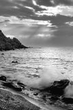 The sea and mountains monochrome Royalty Free Stock Image