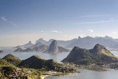 Sea and mountains of Rio de Janeiro. View from the city of Niteroi to Rio de Janeiro, its mountains and the bay of Guanabara Stock Image