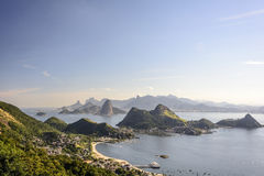 Sea and mountains of Rio de Janeiro. View from the city of Niteroi to Rio de Janeiro, its mountains and the bay of Guanabara Stock Images