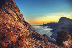 Sea and mountains at sunset. Crimea landscape. Nature background Stock Photography
