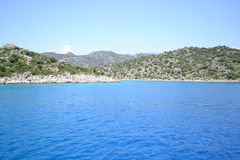 The sea and the mountains of Turkey. Near Kekova island in the Mediterranean Sea in Turkey. Photo taken on:  May 27 Tuesday, 2014 Stock Image