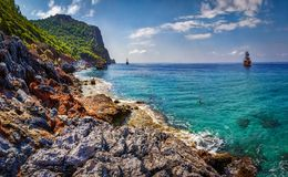 Sea and mountains turkish landscape in Alanya, Turkey. Seascape of rocky coastline on sunny summer day. Royalty Free Stock Photos
