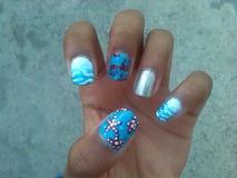 Sea nail art. Cool nails wow Royalty Free Stock Photography