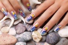 Sea nails design. Stock Photo