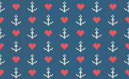 Sea and nautical backgrounds in white, turquoise, red and dark blue colors. Sea theme. Seamless patterns. Woolen knitted texture. Vector Illustration Stock Photography