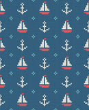 Sea and nautical backgrounds in white, turquoise, red and dark blue colors. Sea theme. Seamless patterns. Woolen knitted. Texture. Vector Illustration Stock Image