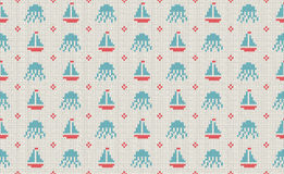 Sea and nautical backgrounds in white, turquoise, red and dark blue colors. Sea theme. Seamless patterns. Woolen knitted texture. Vector Illustration Royalty Free Stock Photos