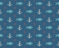 Sea and nautical backgrounds in white, turquoise, red and dark blue colors. Sea theme. Seamless patterns. Woolen knitted. Texture. Vector Illustration Stock Photo