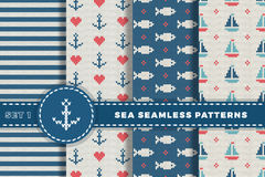 Sea and nautical backgrounds in white, turquoise, red and dark blue colors. Sea theme. Set seamless patterns collection. Woolen kn Stock Images