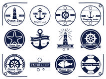 Sea and nautical badger and label Royalty Free Stock Images