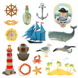 Sea Nautical Decorative Elements Set Stock Image