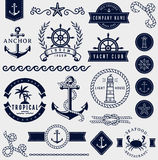 Sea and nautical design elements. Vector set. Set of sea and nautical decorations  on white background. Collection of elements for company logos, business