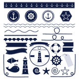 Sea and nautical elements. Set of sea and nautical elements  on white background. Vector illustration Stock Images