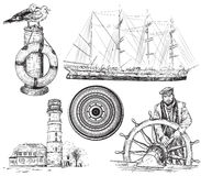 Sea and nautical elements. Vector hand drawn collection of sea and nautical elements Stock Photos