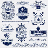 Sea and nautical logos and design elements. Set of sea and nautical typography badges and design elements. Templates for company logo or web decoration. Marine Stock Photo