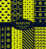 Sea and nautical patterns set. Royalty Free Stock Photos