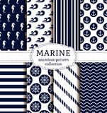 Sea and nautical patterns set. Set of sea and nautical backgrounds in dark blue and white colors. Sea theme. Seamless patterns collection. Vector illustration Stock Photos