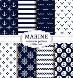 Sea and nautical patterns set. Set of sea and nautical backgrounds in dark blue and white colors. Sea theme. Seamless patterns collection. Vector illustration Royalty Free Stock Photography