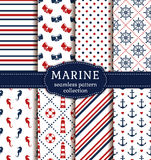 Sea and nautical patterns set. Stock Photo