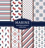 Sea and nautical patterns set. Stock Photo