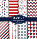 Sea and nautical patterns set. Set of sea and nautical backgrounds in white, blue and red colors. Sea theme. Seamless patterns collection. Vector illustration Royalty Free Stock Photo