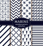 Sea and nautical patterns set. Sea and nautical backgrounds in white and dark blue colors. Sea theme. Seamless patterns collection. Vector set Stock Photography