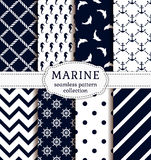 Sea and nautical patterns set. Sea and nautical backgrounds in white and dark blue colors. Sea theme. Seamless patterns collection. Vector set Stock Image